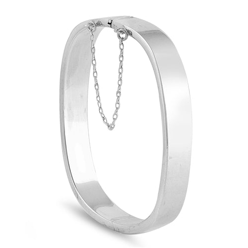 Sterling Silver Square Shape Bangle Bracelet with Chain