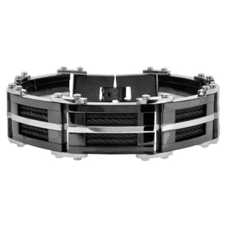 Stainless Steel Matte & Polished IP Black Bracelet