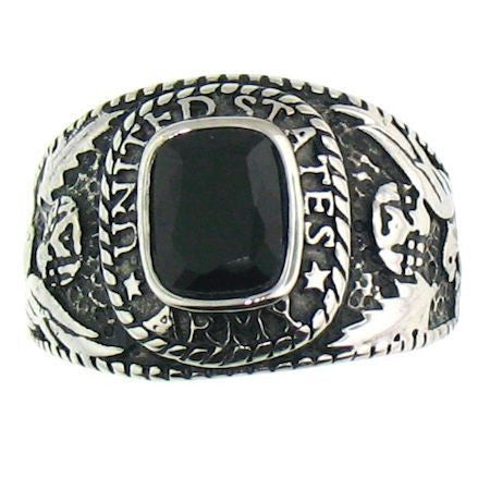 Stainless Steel Black Stone US Army Ring