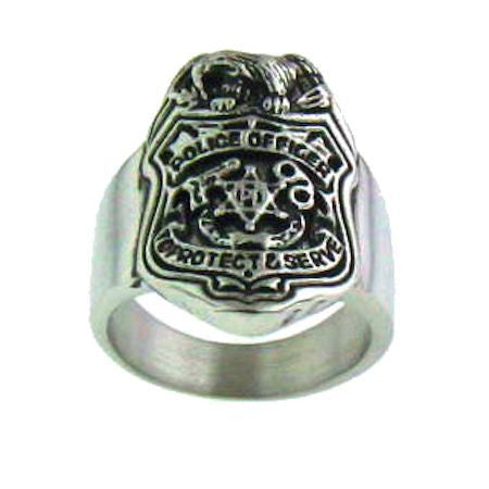Stainless Steel Police Officer Ring
