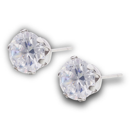 Stainless Steel Stud Earring with Clear CZ