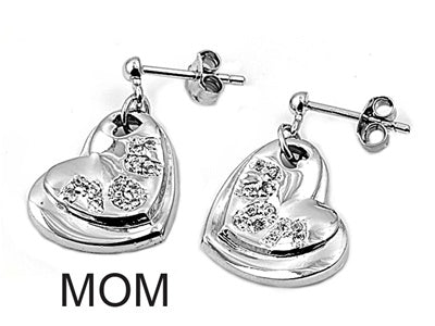 Sterling Silver Stud MOM Heart Earrings with CZ
