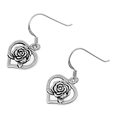 Sterling Silver Rose Heart Earrings