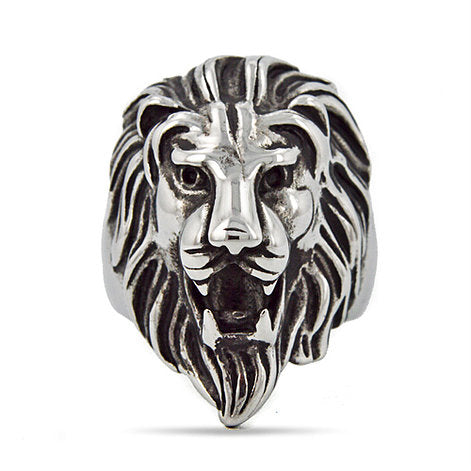 Stainless Steel Lion Face Ring
