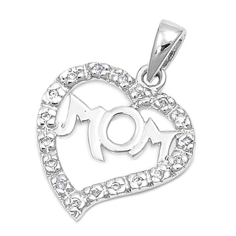 Sterling Silver MOM Heart Pendant Necklace  with CZ