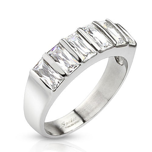 Stainless Steel Six Emerald Cut CZ Ring