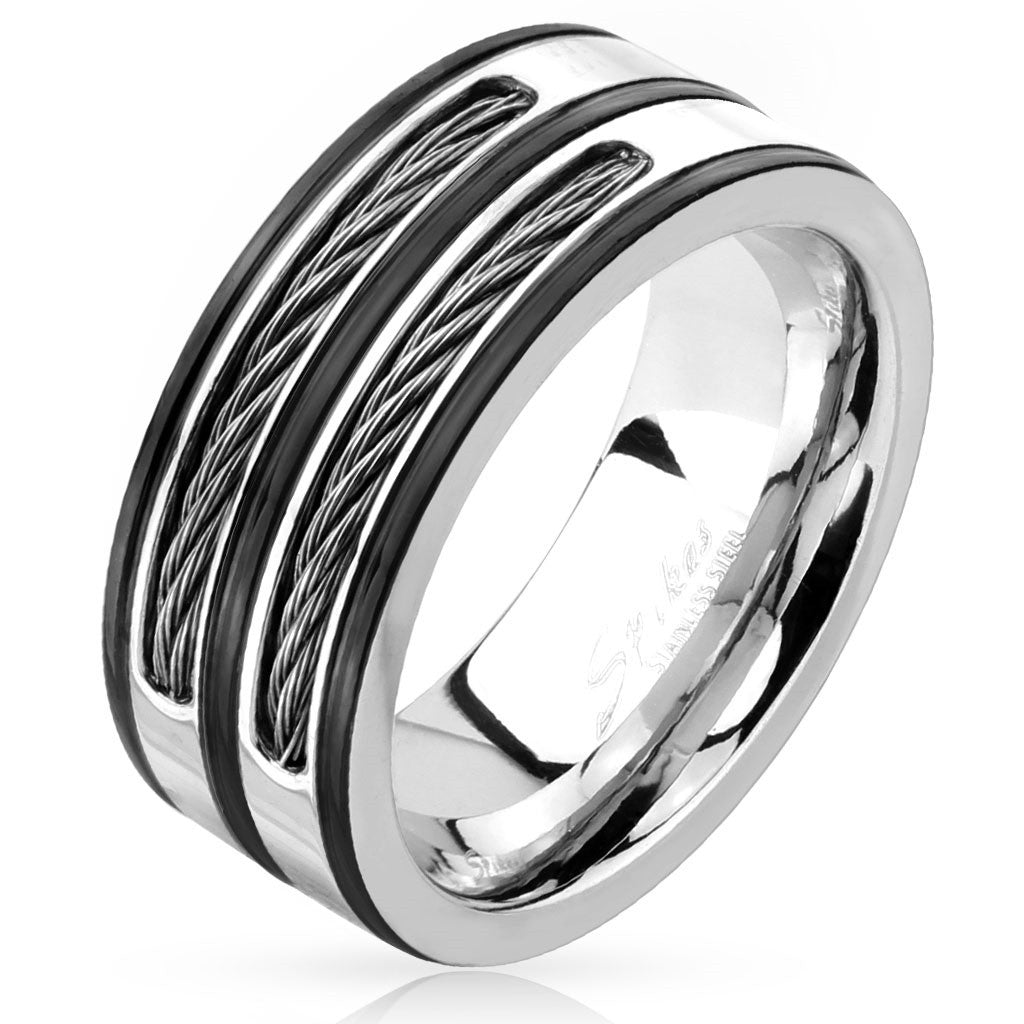 Stainless Steel Double Cable Inlay Black Striped Ring