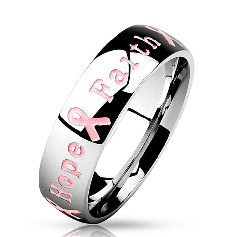 Stainless Steel Pink Ribbon Ring (Courage, Strength, Hope, Faith)
