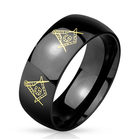 Stainless Steel Engraved Black IP Masonic Ring