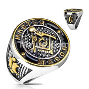 Stainless Steel Gold and Black Masonic Round Face Casting Ring