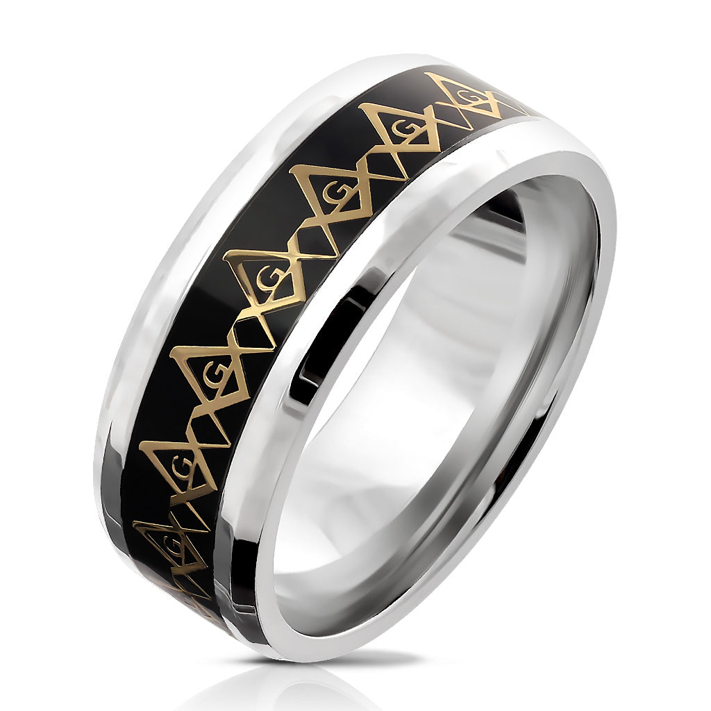 Stainless Steel Gold Masonic Compass Repeating on Black Background Inlay Ring