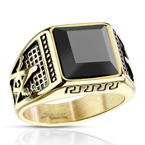 Stainless Steel Faceted Square Onyx Stone Masonic Ring