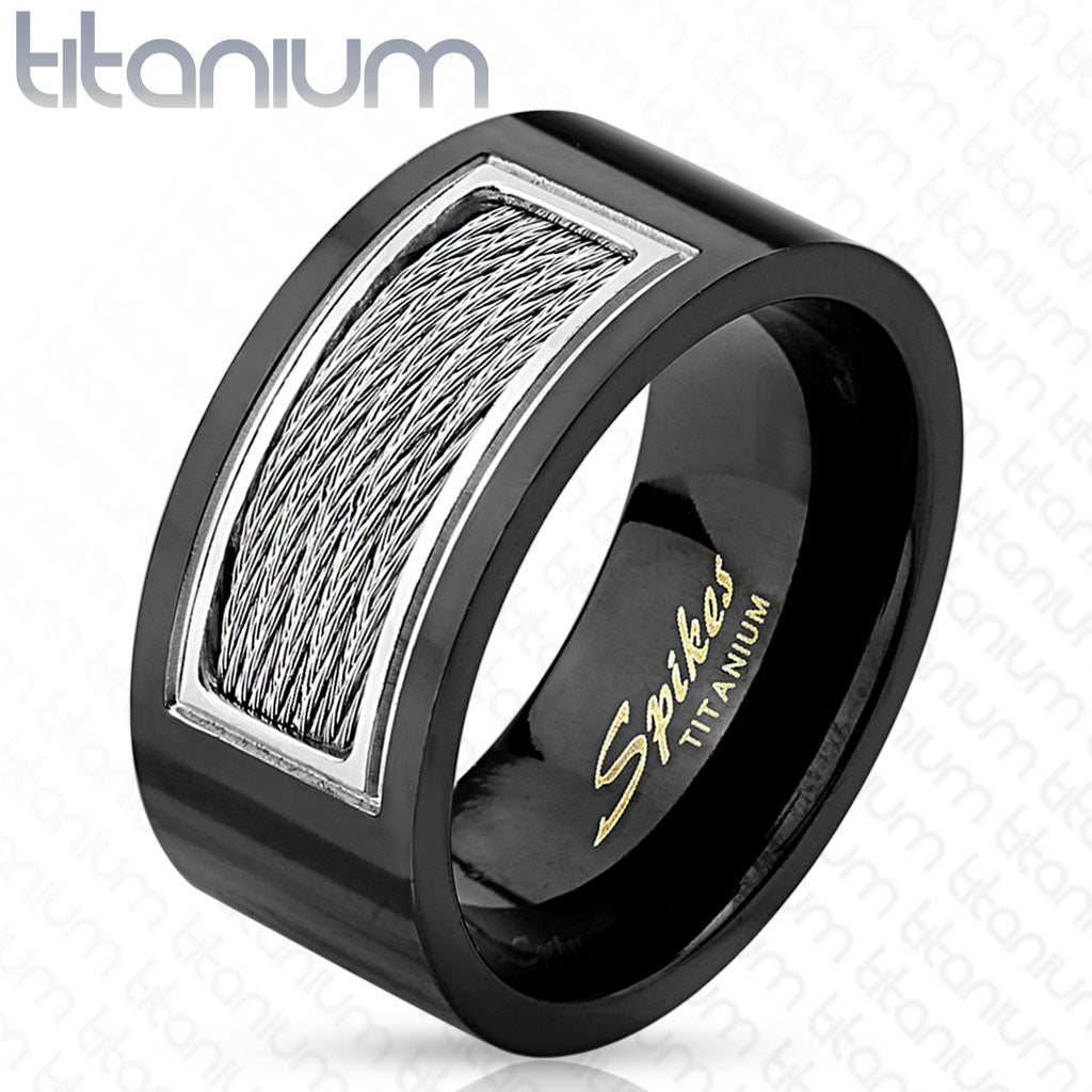 Titanium Wired Cables Inlayed Black IP Ring