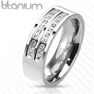 Titanium Double Centered Strings of Micro Paved CZs Band Ring