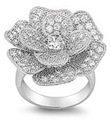Sterling Silver CZ Rose Ring