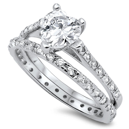 Sterling Silver Wedding Ring Set W/Heart Center Clear CZ