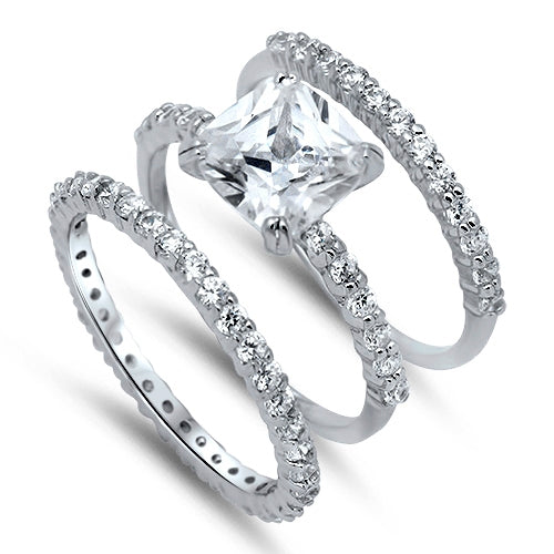 Sterling Silver 3-Band Wedding Ring Set W/Clear CZ