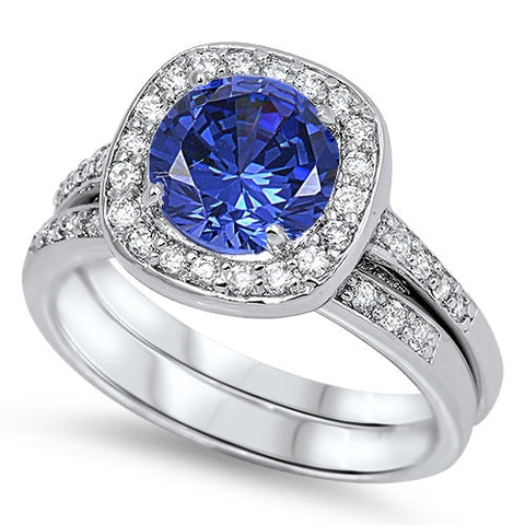 Sterling Silver Blue Sapphire Wedding Ring with Clear CZ