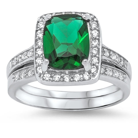 Sterling Silver Emerald Wedding Ring with Clear CZ