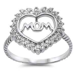 Sterling Silver MOM Heart Ring with CZ