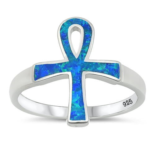 Sterling Silver Opal Ankh Ring