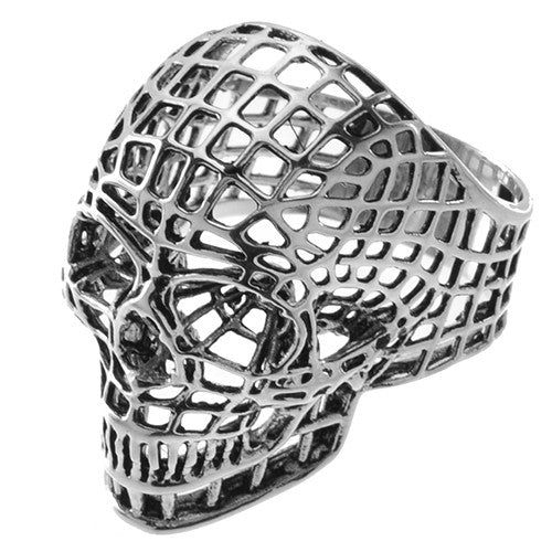 Stainless Steel Skull Ring in Webbing
