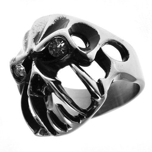 Stainless Steel Gothic Skull Ring with CZ Eyes