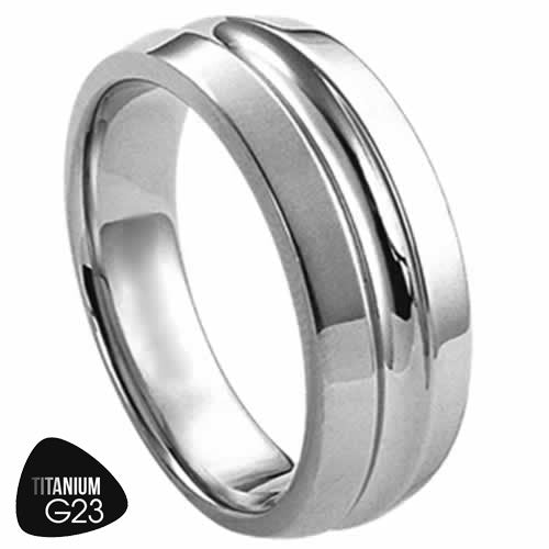 Titanium Ring with Groove in the Center