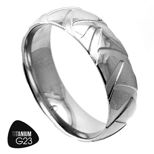 Titanium Ring With Tractor Tire Pattern