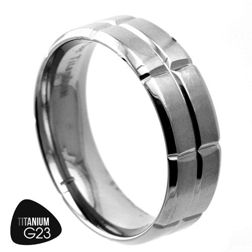 Titanium Ring with Grooves & Comfort Fit