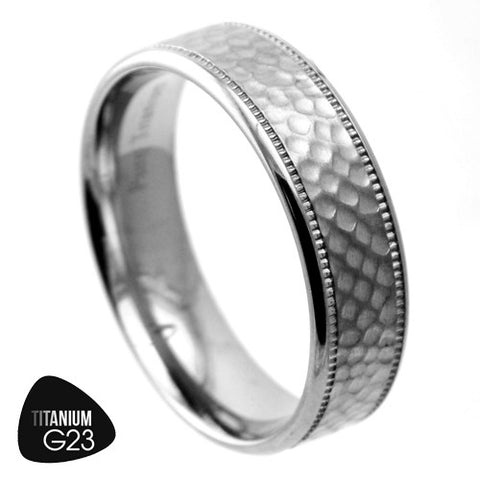 Titanium Ring with Hammered Finish