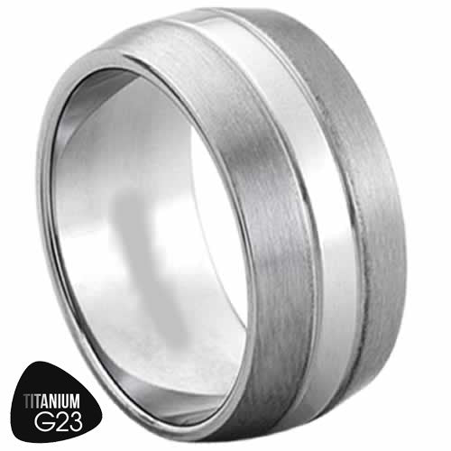 Titanium Ring with a Matte Finish & Strip in Middle
