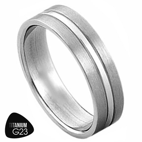 Titanium Ring with Silver Stripe in the Center