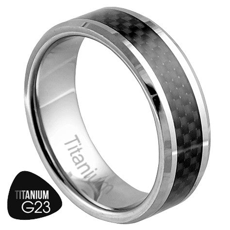 Titanium Ring with Carbon Fiber Film