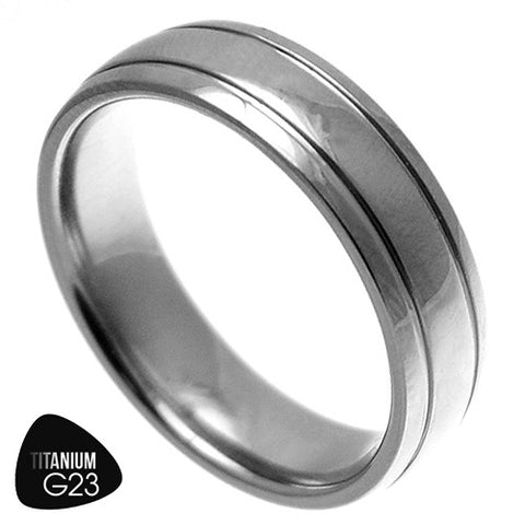 Titanium Domed Polished Ring w/ Dual Grooves