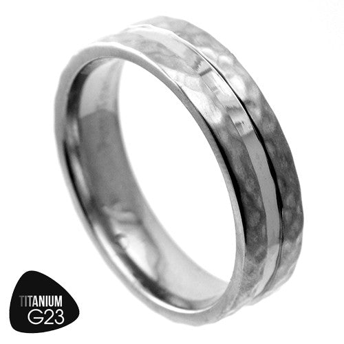 Titanium Ring with Hammered Edges