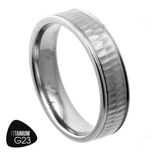 Titanium Ring With Textured Surface