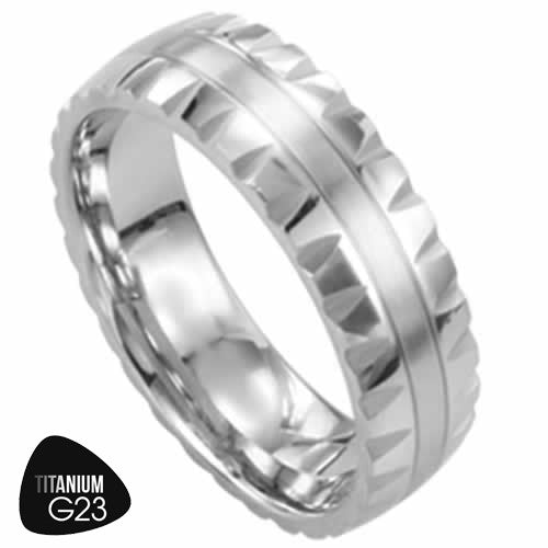 Titanium Ring with Beveled Edge and Stripe in the Center