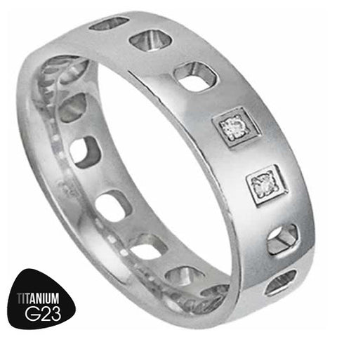 Titanium Ring with Cut Out Circles and Small CZ's