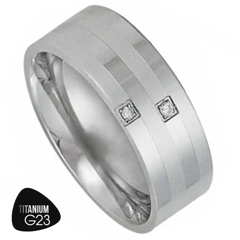 Titanium Ring with Two Small CZ's and Stripes