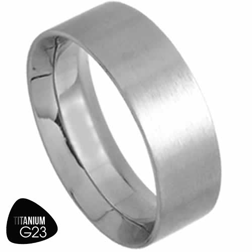 Titanium Ring With Sraight Edge and Inside Comfort Fit