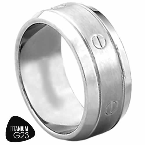 Titanium Ring With Faux Screw Design