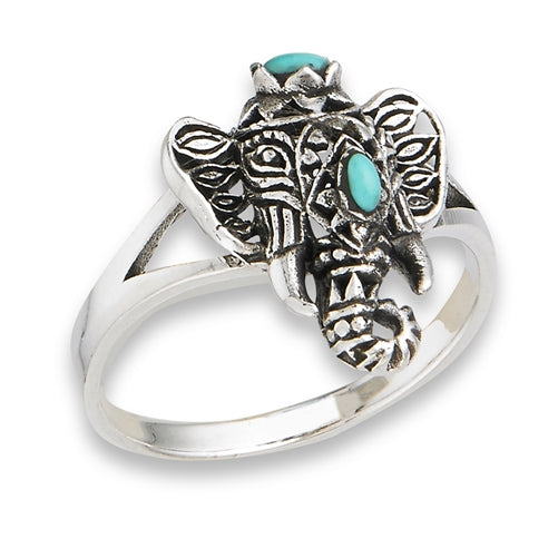Sterling Silver Filigree Ganesha Elephant With Turquoise Ring