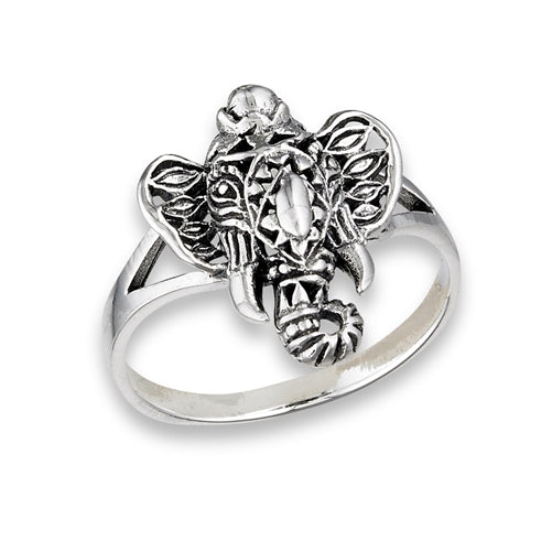 Sterling Silver Filigree Ganesha Elephant Ring