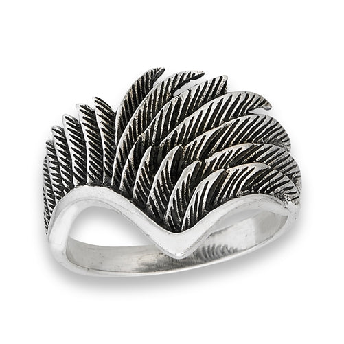 Sterling Silver Detailed Wing Ring