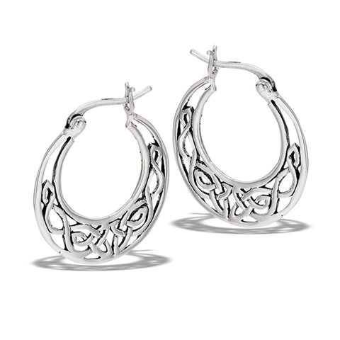 Sterling Silver Celtic Filigree Hoop Earrings