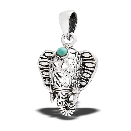 Sterling Silver Filigree Ganesha Elephant With Turquoise Pendant