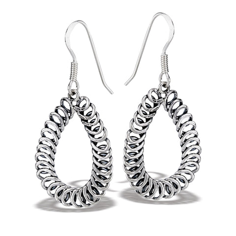 Sterling Silver Multiple Swirl Teardrop Dangle Earring