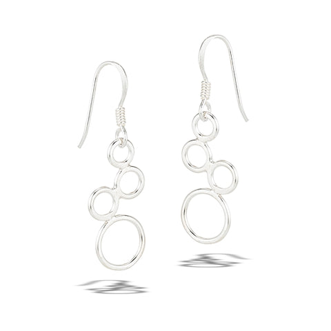 Sterling Silver Triple Dangle Braided Hoops Earrings