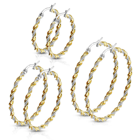 Stainless Steel  Multi-Color Braided Hoop Earrings